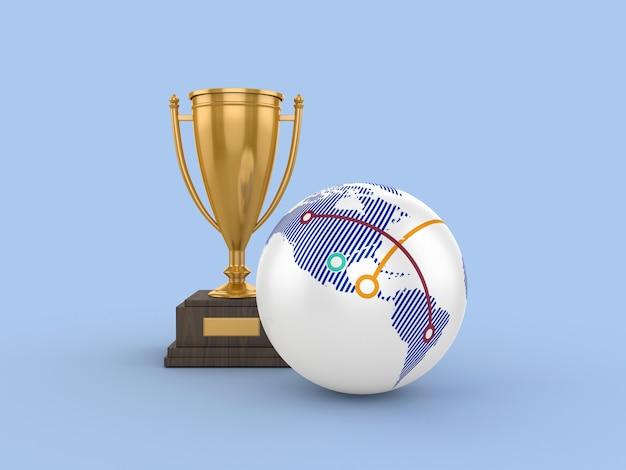 Рендеринг иллюстрации трофей с глобусом мир