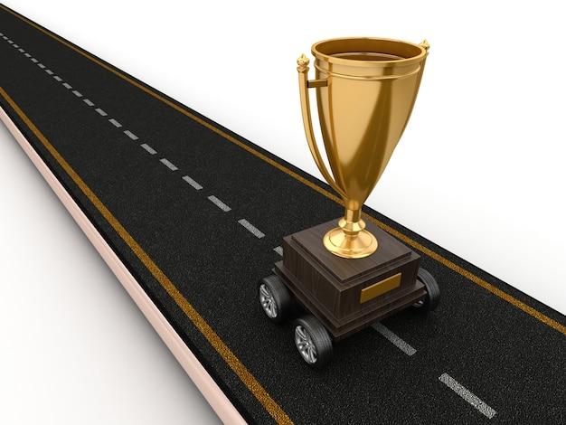 ホイールにトロフィーがある道路のレンダリング図