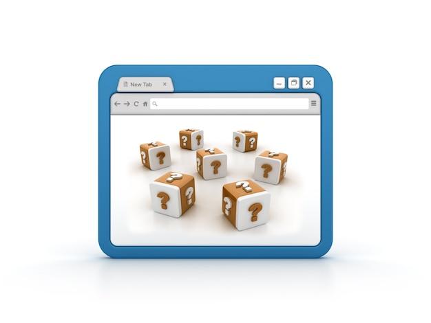 Интернет-браузер с блоками вопросительных знаков