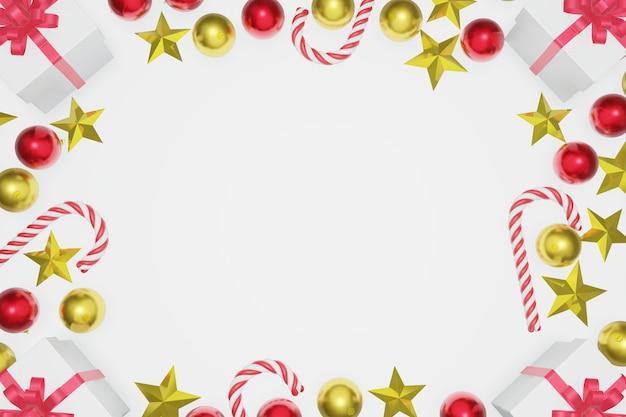 グリーティングカードの灰色の背景上のクリスマスの装飾で作られたフレーム。上面図