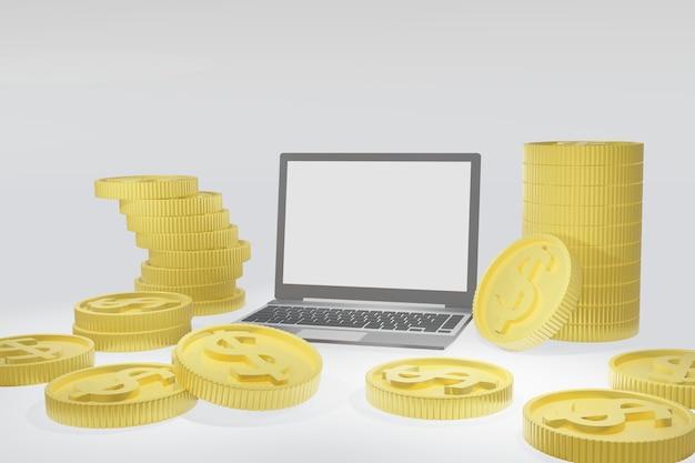 金のドル硬貨と分離された空白の白い画面を持つノートパソコン