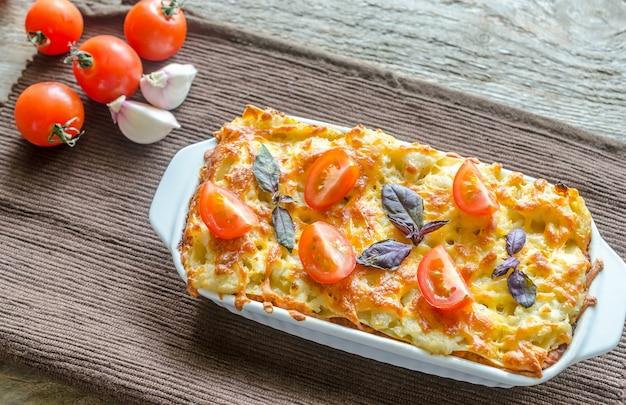 Лазанья с помидорами черри