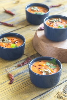 カボチャのクリームスープのボウル