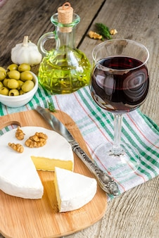 カマンベールチーズと赤ワイン