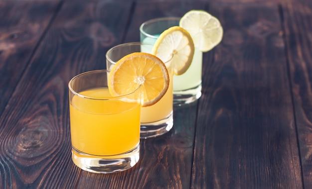 柑橘類ジュースの品揃え