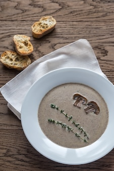 クリーミーなキノコのスープの部分