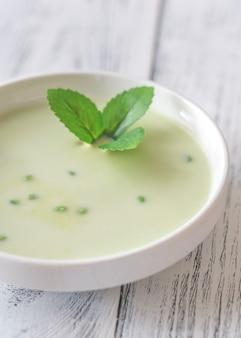 エンドウ豆のクリームスープの部分