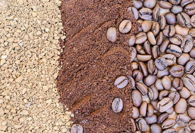 コーヒー豆、フリーズドライ、挽いたコーヒーの背景