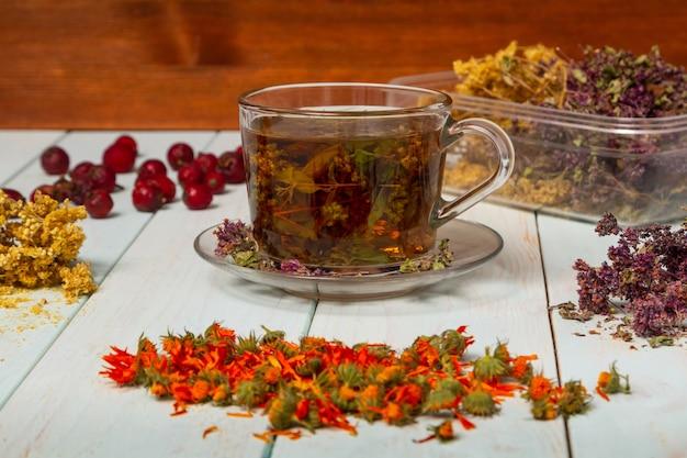 ハーブの準備の画像。薬草からのお茶。