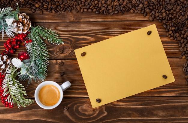 コーヒー愛好家のためのメリークリスマスと幸せな新年の背景。