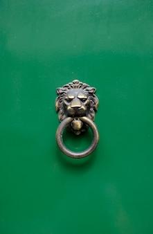 Металлический античный дверной молоток линия головы на зеленой деревянной двери