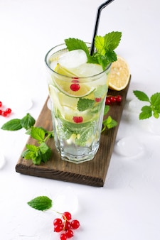 Домашний коктейль мохито с лимоном, лаймом, листьями мяты, со льдом и красной смородиной. летний напиток концепции.