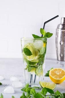 Свежий ягодный лимонад домашний коктейль мохито с лимоном, лаймом, листьями мяты, со льдом и шейкером. летний напиток концепции.