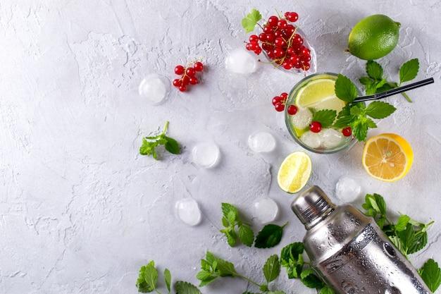 Шейкер, лимон, лайм, листья мяты, красная смородина и лед для приготовления летнего коктейля