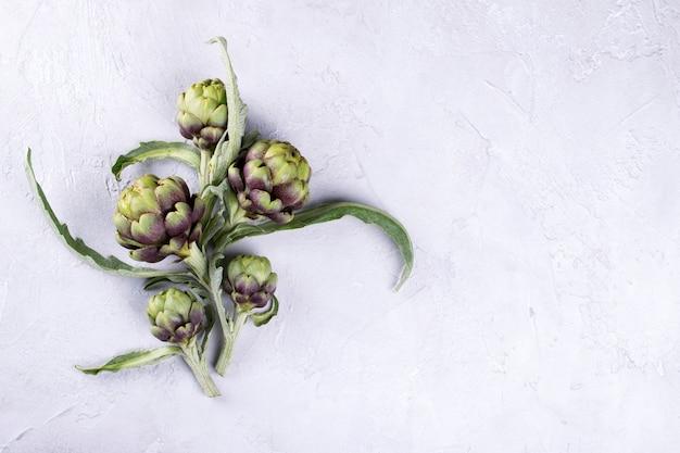 Свежие сырые артишоки на сером фоне. спелый органический цветок артишока с копией пространства