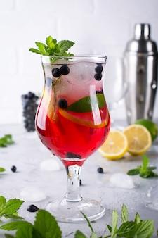 Холодный летний домашний фруктово-ягодный лимонад. мохито, лимонад или сангрия в стакане.