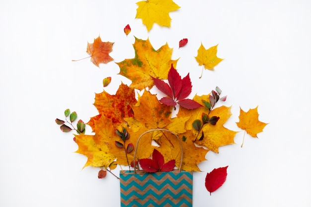 秋の組成物。白い背景の上の秋の黄色の乾燥葉と紙袋。フラット横たわっていた、トップビュー、コピースペース
