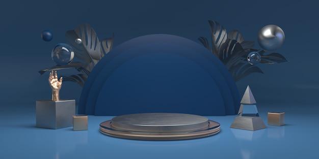 製品の表彰台と抽象的なブルースタジオの背景