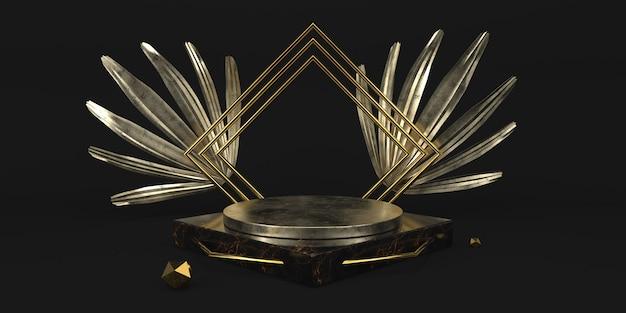 金属の表彰台と葉入りモダンな黒のスタジオ