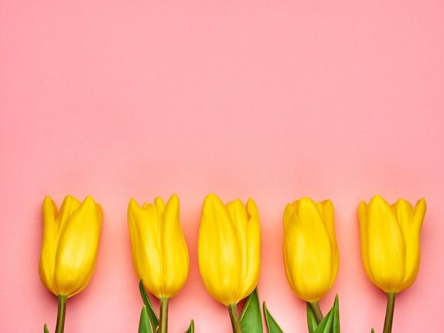 ピンクの背景、女性の日のコピースペースに黄色の春チューリップ