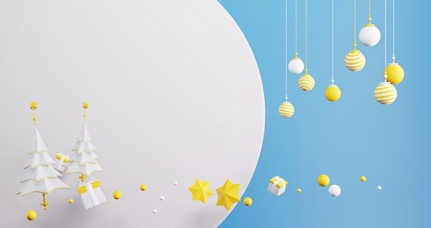 新年のコンセプト。カラフルなクリスマスボール、木、空の円の背景の星のセット。