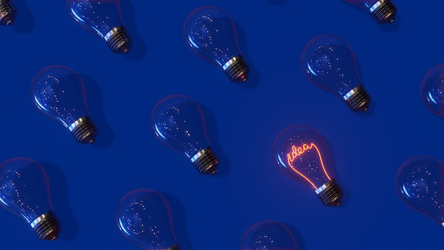 ガラス電球のパターンとアイデアのレタリング