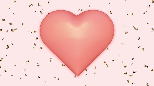 黄金の紙吹雪の背景にピンクのハート