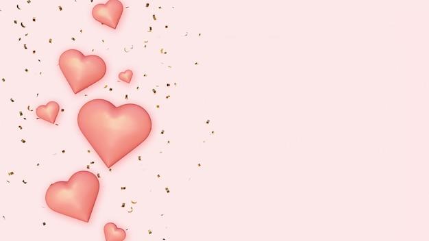 黄金の紙吹雪の背景にピンクの心