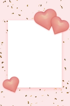 聖バレンタインの日のためのピンクの心と金色の紙吹雪と空白のグリーティングカード