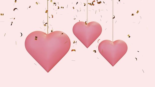 Висячие сердца с летающим конфетти