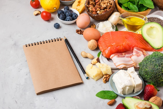 Кетогенное диетическое питание. здоровые продукты с низким содержанием углеводов. кето диета концепции. овощи, рыба, мясо, орехи, семена, ягоды, сыр