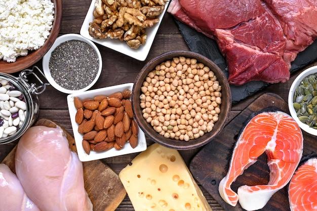 肉、鶏肉、卵、乳製品、ナッツ、豆などのタンパク質を豊富に含む自然食品。健康食品とダイエットのコンセプト