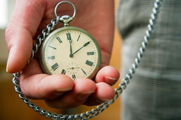 手に古い時計