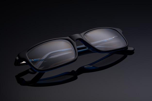 黒い表面に青い黒い眼鏡