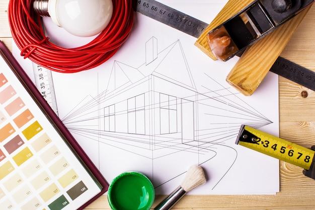 Набор инструментов и графика дома
