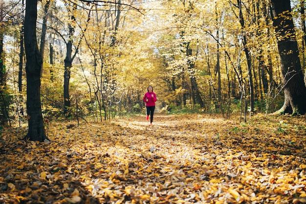 朝の公園の中に走っている女性