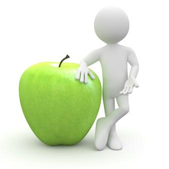 Человек опирается на огромное зеленое яблоко