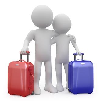 Пара влюбленных готова уйти со своими чемоданами