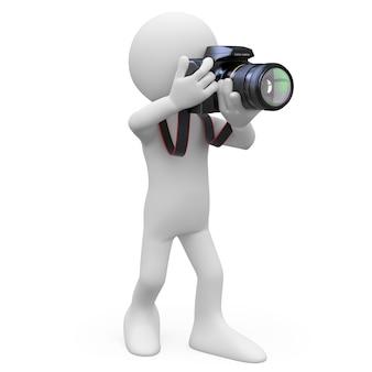 Человек фотографирует с его зеркальной камерой