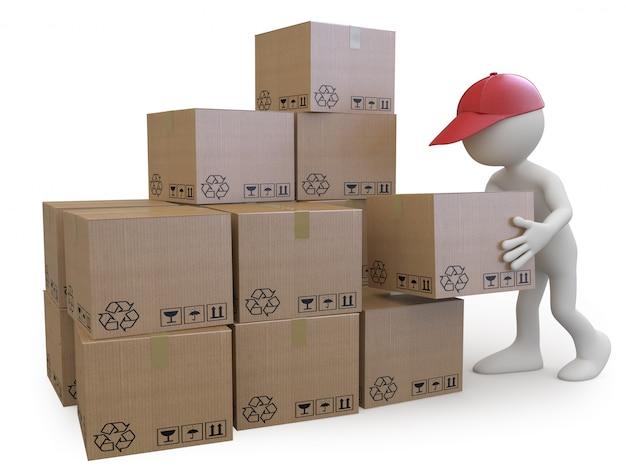 Сток мальчик укладывает картонные коробки