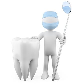 Стоматолог с зубом и ртом зеркало