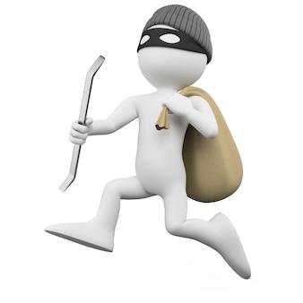 バールと袋を持って走る泥棒