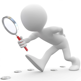 Человек с увеличительным стеклом ищет монеты