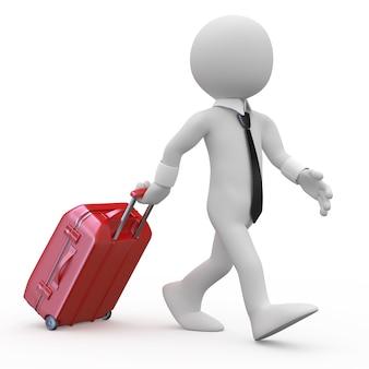 赤いトロリースーツケースを引っ張って実業家