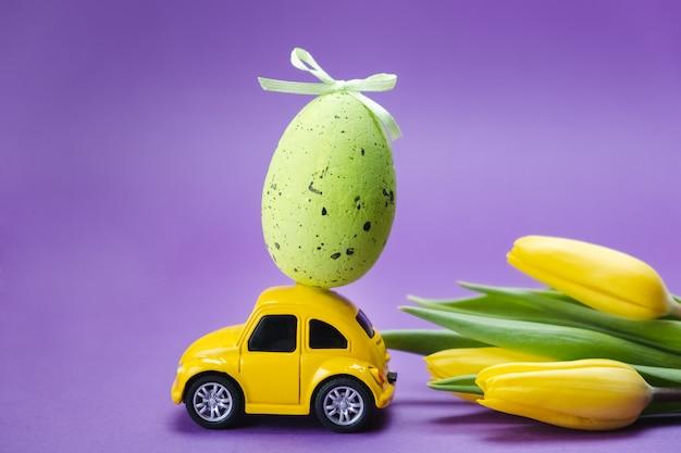 Игрушечный ретро автомобиль с яйцом на крыше и желтыми тюльпанами на фиолетовой поверхности