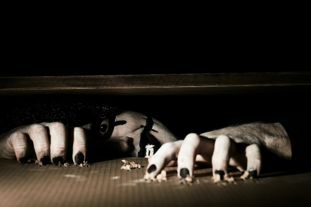 恐ろしい怖いピエロは地下の蓋の下から覗きます。