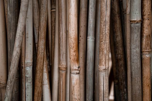 たくさんの竹の棒で自然な背景。