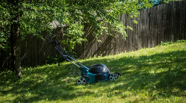 緑の芝生の芝刈り機