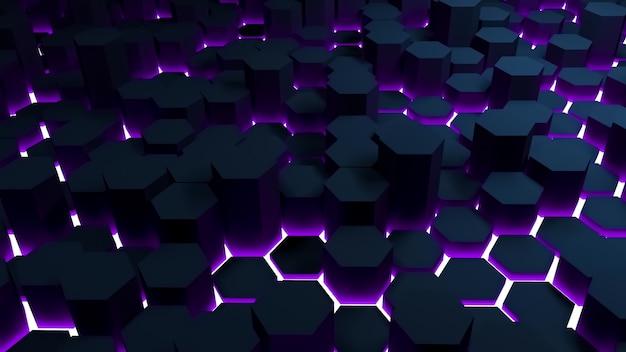 光と六角形の抽象的な背景