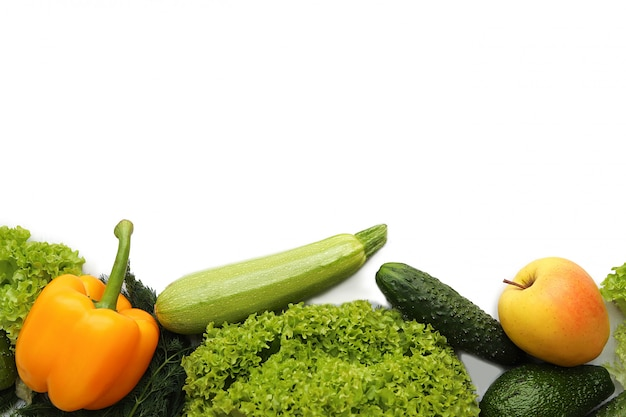 明るい果物と野菜
